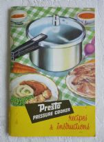 zz Presto Pressure Cooker Recipes & Instructions (Tower Housewares, c.1970s) (SOLD)